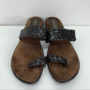 A. Giannetti leather weave sandals